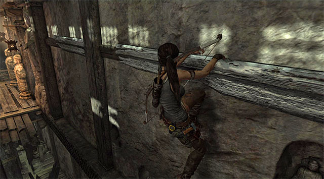 Move left along the ledge, jumping when needed - Hall of Ascension - Optional Tombs: Mountain Village - Tomb Raider - Game Guide and Walkthrough