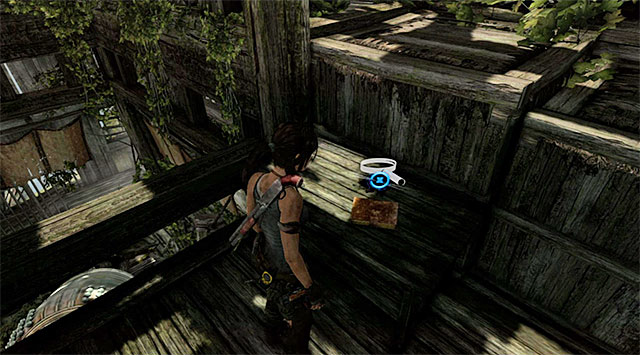 Move along the bell and bounce off towards the railing; grab onto it to get to the first floor - Documents | Collectibles: Mountain Village - Collectibles: Mountain Village - Tomb Raider Game Guide