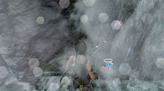 Make your way to the large waterfall and check out the area on the left (reward: 5 XP) - GPS Caches (01-07) | Collectibles: Mountain Village - Collectibles: Mountain Village - Tomb Raider Game Guide