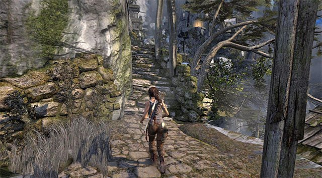 Once you land on a new ledge, turn right and take the stairs up - GPS Caches (08-15) | Collectibles: Mountain Village - Collectibles: Mountain Village - Tomb Raider Game Guide