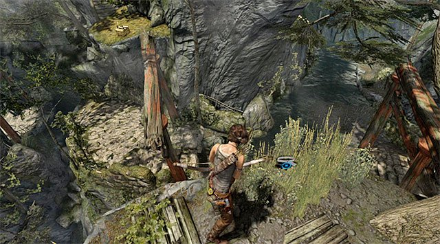 Use the rope bridge and take the path towards the nearby hill - GPS Caches (08-15) | Collectibles: Mountain Village - Collectibles: Mountain Village - Tomb Raider Game Guide