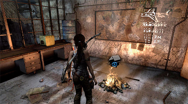 Follow the gallery until you reach the base camp - Campsites | Collectibles: Mountain Base - Collectibles: Mountain Base - Tomb Raider Game Guide