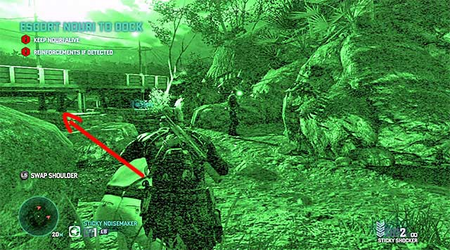 Stop again when you reach the rocks - Escort Nouri - Mission 4 - Private Estate - Tom Clancys Splinter Cell: Blacklist - Game Guide and Walkthrough