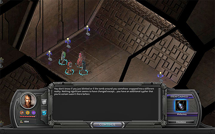 Continue investigating the graves until you find the Phylactery - Necropolis Map - M13 - Valley of Dead Heroes - Torment: Tides of Numenera Game Guide
