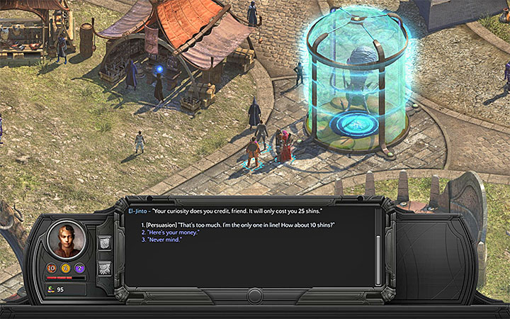 You can bargain with El-Jinto. - Beleazar and the Beast - side quest walkthrough | Circus Minor - Sagus Cliffs: Circus Minor - Torment: Tides of Numenera Game Guide