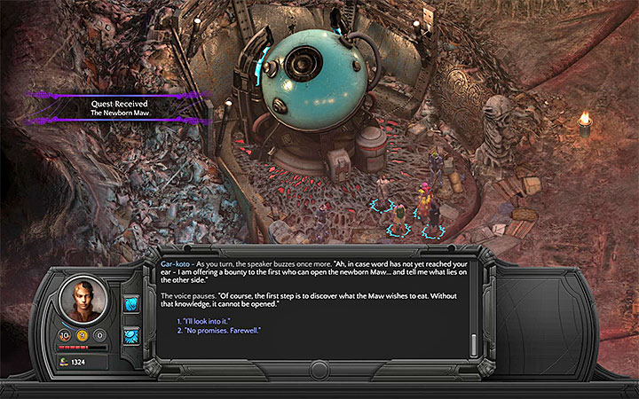 Talk to Gar-koto about the new Maw - The Newborn Maw - side quest walkthrough | Small Nihilesh - Bloom: Small Nihilesh - Torment: Tides of Numenera Game Guide