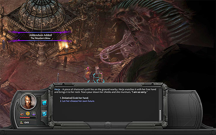 You can use Initiative in order to save the volunteer from being eaten by the Maw - The Newborn Maw - side quest walkthrough | Small Nihilesh - Bloom: Small Nihilesh - Torment: Tides of Numenera Game Guide