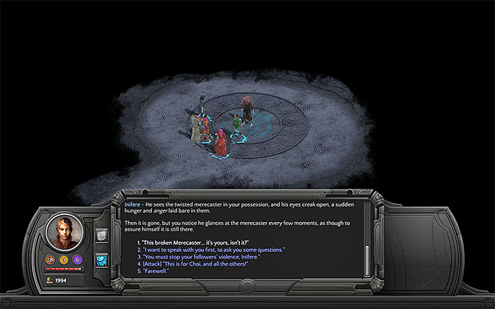 If you chose a peacefull approach, you can broach the subject of the found merecaster. - Endless Horror - side quest walkthrough | Valley of Dead Heroes - Valley of Dead Heroes - Torment: Tides of Numenera Game Guide