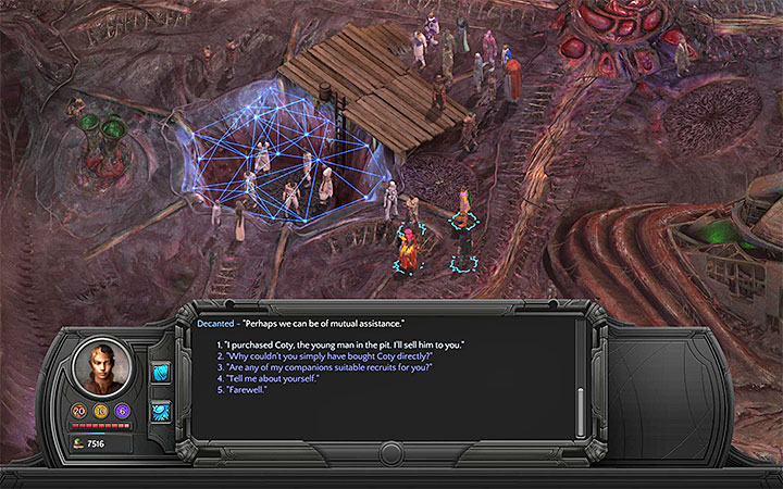 You can sell Coty to Decanted - Freedman - side quest walkthrough | Memoviras Courtyard - Bloom: Memoviras Courtyard - Torment: Tides of Numenera Game Guide