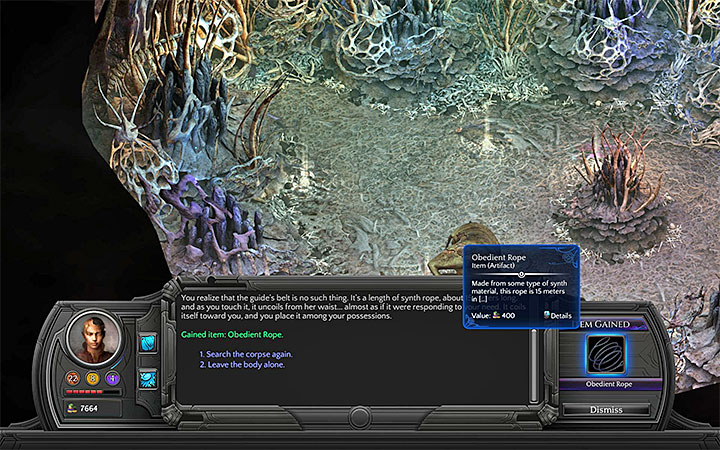 The Obedient Rope can be found next to the corpse - Into the Depths - main quest walkthrough | Bloom Heart - Bloom: Bloom Heart - Torment: Tides of Numenera Game Guide