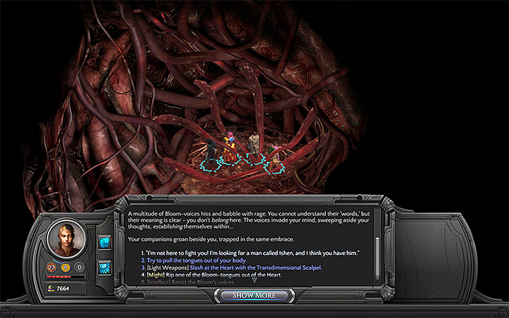 The list of available actions isnt always the same, so you should depend on those that are available - Into the Depths - main quest walkthrough | Bloom Heart - Bloom: Bloom Heart - Torment: Tides of Numenera Game Guide