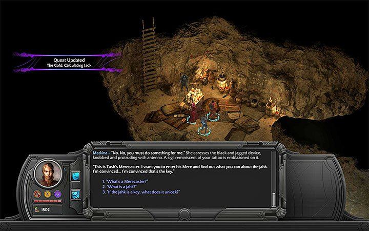 Using Tashs Merecaster is a mandatory part of The Cold, Calculating Jack - All Merecasters in Torment: Tides of Numenera - Puzzles and additional activities - Torment: Tides of Numenera Game Guide
