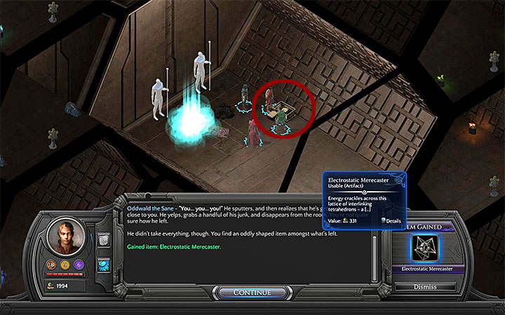 Electrostatic Merecaster can be found in Oddwalds Tomb, a part of the Necropolis visited during Severed Child, a side quest began by investigating a crystal found in Valley of Dead Heroes (M12 - All Merecasters in Torment: Tides of Numenera - Puzzles and additional activities - Torment: Tides of Numenera Game Guide