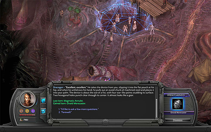 Exchange one of the items for the Ovoid Merecaster - All Merecasters in Torment: Tides of Numenera - Puzzles and additional activities - Torment: Tides of Numenera Game Guide