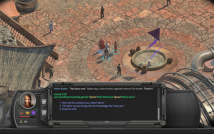 Once youve won the duel, you can kill Sitabo go gain another permanent bonus to Stats (the third dialogue option) - How to win the duel with Aidan Sitabo (Cliffs Edge)? - Puzzles and additional activities - Torment: Tides of Numenera Game Guide