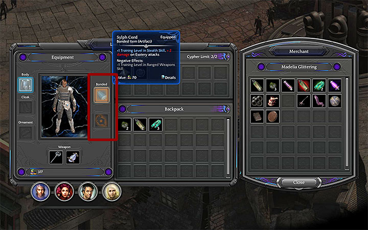You dont keep bonded items in your inventory while waiting for an opportunity to use them - Bonded Items | Gameplay basics - Gameplay basics - Torment: Tides of Numenera Game Guide