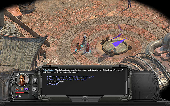 Aidan Sitabo is standing at the unusual-looking fountain. - Cliffs Edge Map - M6 - Sagus Cliffs: Cliffs Edge - Torment: Tides of Numenera Game Guide