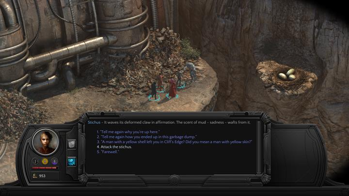 You can kill the beast during the conversation - Hidden Enemy - side quest walkthrough | Cliffs Edge - Sagus Cliffs: Cliffs Edge - Torment: Tides of Numenera Game Guide