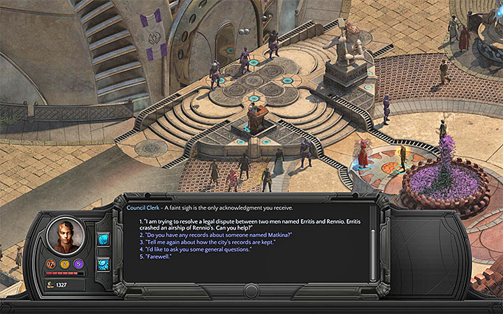 You can meet with Council Clerk if you want to deal with the debt - The Airship Thief - side quest walkthrough | Caravanserai - Sagus Cliffs: Caravanserai - Torment: Tides of Numenera Game Guide