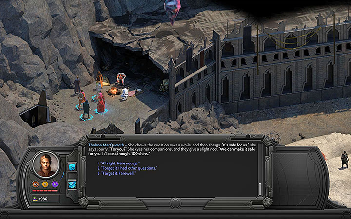 Thalana demands 100 shins for making the resting place safe. - Valley of Dead Heroes Map - M12 - Valley of Dead Heroes - Torment: Tides of Numenera Game Guide