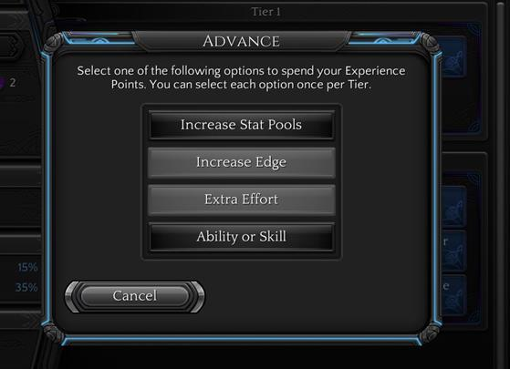 Before you reach next experience tier, you must complete four steps which will develop your character. - Experience System | Gameplay basics - Gameplay basics - Torment: Tides of Numenera Game Guide