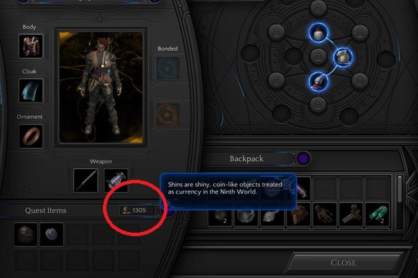 Information about how many shins you have can be found in your inventory. Shins can be used for trading with other characters. - How to quickly gain shins / gold in Torment: Tides of Numenera? - Adventurers Guide - Torment: Tides of Numenera Game Guide