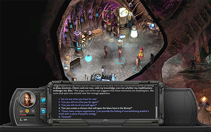 Sheen can teach you how to prepare the essence that will open the Maw. - Dracogens Price - main quest walkthrough | Memoviras Courtyard - Bloom: Memoviras Courtyard - Torment: Tides of Numenera Game Guide