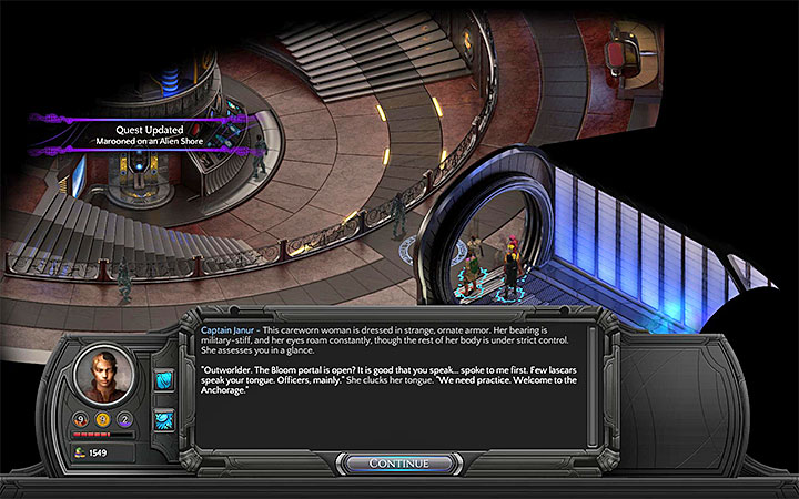 Talk to Captain Janur about the lost lascars - Marooned on an Alien Shore - side quest walkthrough | Vast Interior - Bloom: Vast Interior - Torment: Tides of Numenera Game Guide