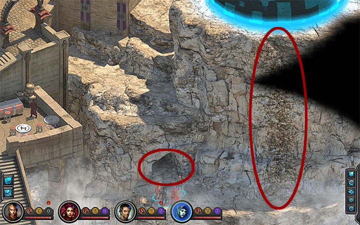 You can climb on the rocky wall right next to the cave where Matkina hides - How to solve the dome puzzle in Torment: Tides of Numenera? - Puzzles and additional activities - Torment: Tides of Numenera Game Guide