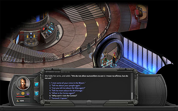 Make sure to mention the Cortex during your conversation - Covetous Hearts - side quest walkthrough | Lost Anchorage - Bloom: Small Nihilesh - Torment: Tides of Numenera Game Guide