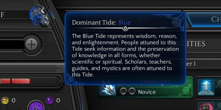 You can check your dominant Tide in your characters tab - Tides - How to Read Them? | Gameplay basics - Gameplay basics - Torment: Tides of Numenera Game Guide