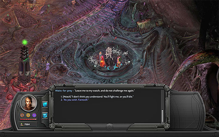 Select the option to attack the construct - How to defeat the Waits-for-prey construct in the Bloom? - Puzzles and additional activities - Torment: Tides of Numenera Game Guide