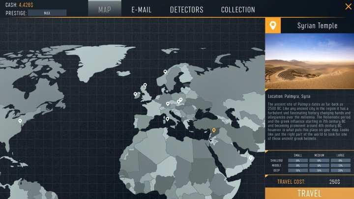 The map of the world, along with all of the available locations. - How to unlock new locations in Treasure Hunter Simulator? - Basics - Treasure Hunter Simulator Guide