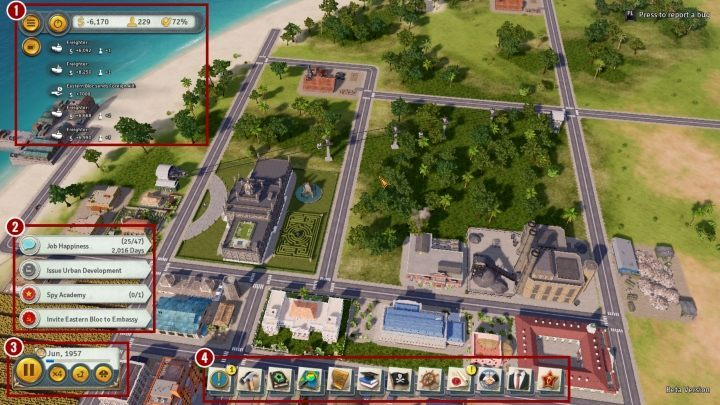 Following things are marked on the above picture - Interface in Tropico 6 - Basics - Tropico 6 Guide