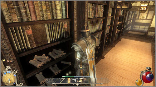 Timothy is sitting on the stairs inside the University - A Book Like No Other, One For The Books | Quests - New Ashos - Quests - New Ashos - Two Worlds II Game Guide