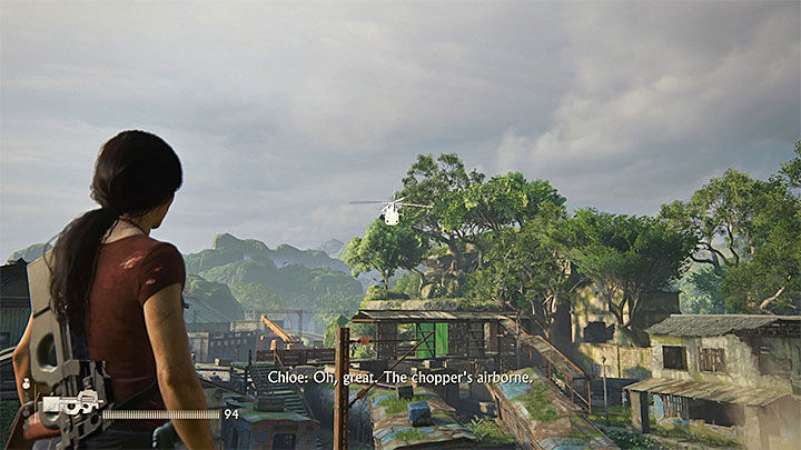 The chopper keeps circling above the station - avoid staying out in the open, because you can be spotted by its crew - Destroy the enemy chopper | 8. Partners | Walkthrough - Walkthrough - Uncharted: The Lost Legacy Game Guide
