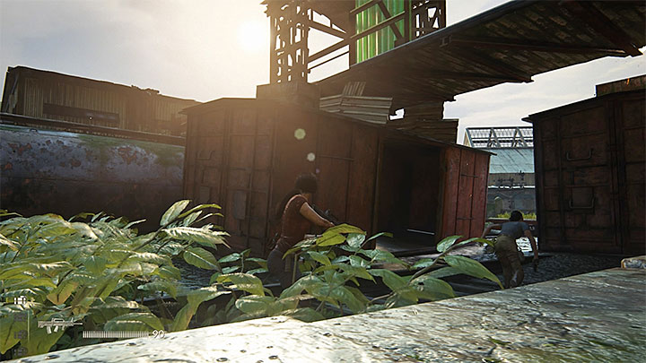 The most helpful at destroying the helicopter will be RPGs that you can find in five locked orange crates (1/5-5/5) scattered around the station - Destroy the enemy chopper | 8. Partners | Walkthrough - Walkthrough - Uncharted: The Lost Legacy Game Guide