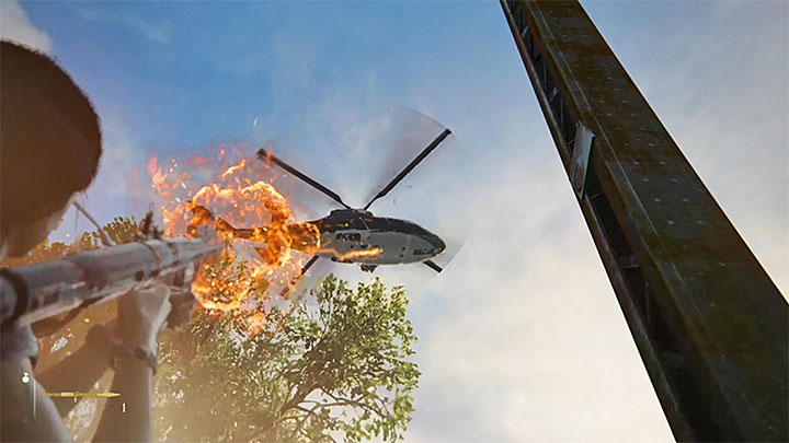 Fire two rockets at the helicopter - Destroy the enemy chopper | 8. Partners | Walkthrough - Walkthrough - Uncharted: The Lost Legacy Game Guide