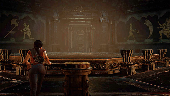 The theater is encountered in the middle of the level, after reaching the room shown on the screenshot above - How to solve the Shadow Theater puzzle (chapter 5) | FAQ - FAQ - Frequently Asked Questions - Uncharted: The Lost Legacy Game Guide