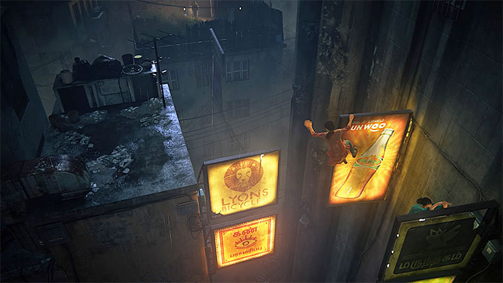 Use neon signs to reach the new roof - 2 - Infiltration | Walkthrough - Walkthrough - Uncharted: The Lost Legacy Game Guide