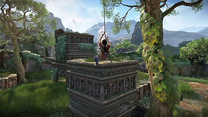 Use your grappling hook to get from the building to building - 4- Hoysalas Tokens and the Queens Ruby | Walkthrough - Walkthrough - Uncharted: The Lost Legacy Game Guide