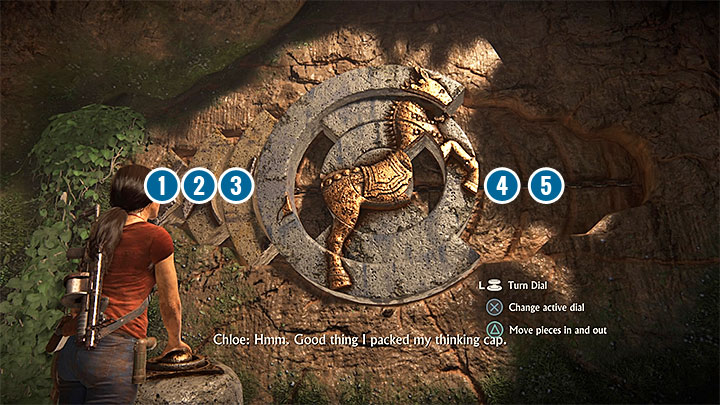 Youll encounter a quite complicated riddle that involves attaching three interactive elements from the left side of the screen (1,2, and 3 on our screenshot) to the central part of the mechanism - 4- Hoysalas Tokens and the Queens Ruby | Walkthrough - Walkthrough - Uncharted: The Lost Legacy Game Guide
