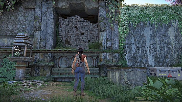 If youve managed to clear the area, search for a weakened wall that neighbors one of the shrines and topple it using grenades (there is a supply chest nearby) and pick-up the token - 4- Hoysalas Tokens and the Queens Ruby | Walkthrough - Walkthrough - Uncharted: The Lost Legacy Game Guide