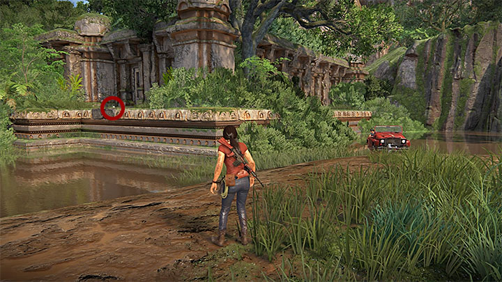 This treasure is in the small ruins that you have to reach from the Eastern direction (i - 3 - Homecoming | Secrets - Secrets - Uncharted: The Lost Legacy Game Guide