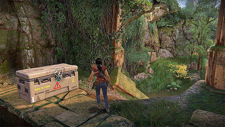 Your goal is to reach the protruding board where you can use your grapple hook on an interactive hook visible in the distance - 4 - Photos, optional conversations and lockboxes in Wester Ghats | Secrets - Secrets - Uncharted: The Lost Legacy Game Guide