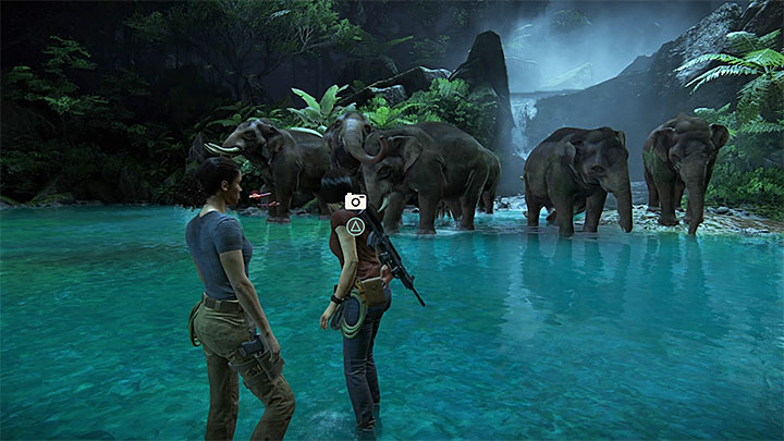 Move on and you will soon reach an elephant female crushed by a pillar - 6 - The Gatekeeper | Walkthrough - Walkthrough - Uncharted: The Lost Legacy Game Guide