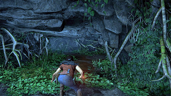 To obtain the third collectible, you have to jump over smaller ledges and reach the spot shown in the above screenshot, where you have to crouch to move on - 6 - The Gatekeeper | Walkthrough - Walkthrough - Uncharted: The Lost Legacy Game Guide