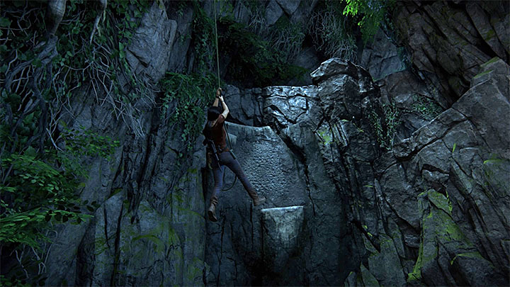 Only after you have found them all, grapple the hook and swing towards the wall shown in the above screenshot - 6 - The Gatekeeper | Walkthrough - Walkthrough - Uncharted: The Lost Legacy Game Guide