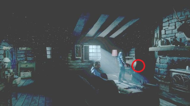 The book is to the left of the fireplace on the table - Episode 3 | Clues and totems - locations - Clues and totems - locations - Until Dawn Game Guide & Walkthrough