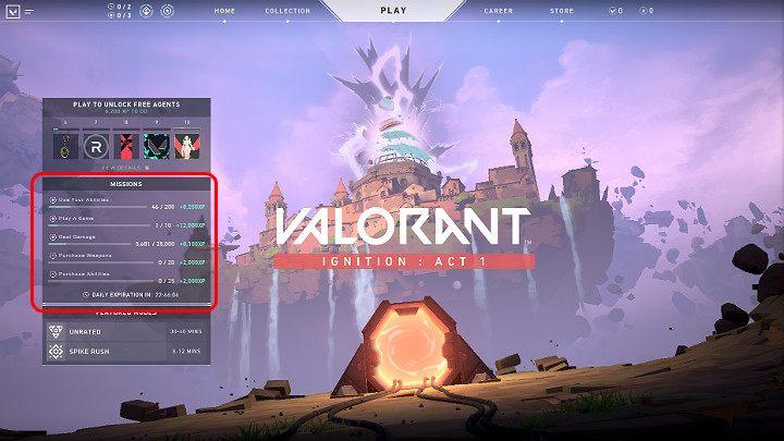 Текущие ежедневные миссии, доступные в Valorant, всегда отображаются на главном экране игры - Valorant: очки опыта - как их заработать как можно быстрее?  - Основы - Руководство Valorant